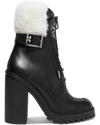 Givenchy - Aviator Shearling-trimmed Leather Ankle Boots - Lyst