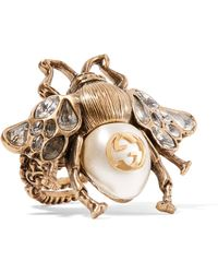 Gucci - Burnished Gold-tone, Faux Pearl And Crystal Ring - Lyst