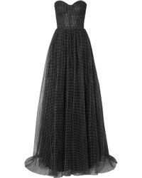 Monique Lhuillier - Strapless Ruched Swiss-dot Tulle Gown - Lyst