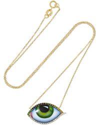 Lito - 14-karat Gold, Enamel And Multi-stone Necklace - Lyst