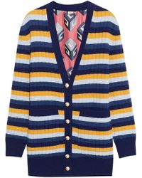 Gucci - Reversible Striped Wool And Printed Silk Cardigan - Lyst