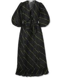 Ganni Printed Linen And Silk Midi Dress - Black