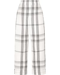 Brunello Cucinelli | Checked Crinkled Cotton-blend Pants | Lyst
