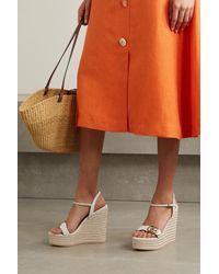 Gucci Aitana Logo-embellished Leather Wedge Espadrille Sandals - White