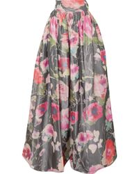 Alexis Mabille - Bow-detailed Floral-print Organza Maxi Skirt - Lyst