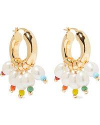 Eliou Gold-tone, Bead And Pearl Hoop Earrings - Metallic