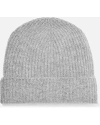 Johnstons + Net Sustain Ribbed Cashmere Beanie - Gray