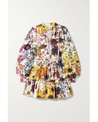 Oscar de la Renta Minikleid Aus Popeline Aus Einer Baumwollmischung Mit Blumenprint Und Gürtel - Weiß