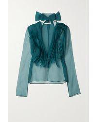 Jason Wu Tie-neck Ruffled Silk-blend Organza Blouse - Blue