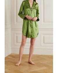 Morgan Lane Jillian Nachthemd Aus Seiden-charmeuse Mit Stickerei - Grün