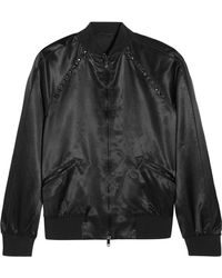 Valentino - Rockstud Embellished Satin Bomber Jacket - Lyst