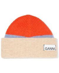 Ganni Ribbed Striped Wool-blend Beanie - Natural