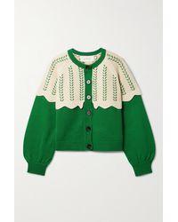 The Great The Scallop Zweifarbiger Cardigan Aus Einer Baumwollmischung Mit Stickereien - Grün