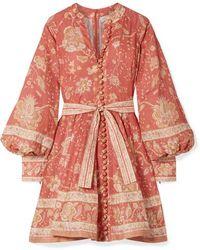 Zimmermann Mini-robe En Lin Imprimé À Ceinture - Rouge