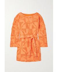 Lucy Folk Sol Belted Cotton-terry Mini Dress - Orange