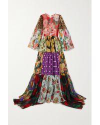 Dolce & Gabbana Tiered Patchwork Printed Silk-chiffon Gown - Black