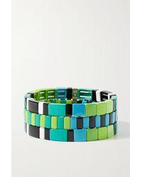 Roxanne Assoulin Set Aus Drei Armbändern Mit Emaille Und Goldfarbenen Details - Grün