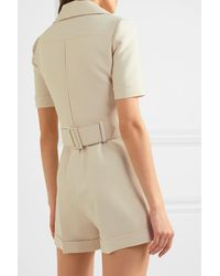 Gucci Belted Wool And Silk-blend Cady Playsuit - Natural
