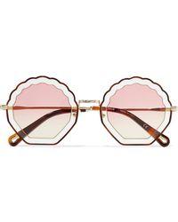 Chloé - Scalloped Round-frame Gold-tone And Tortoiseshell Acetate Sunglasses Tortoiseshell One Size - Lyst