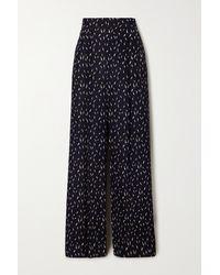 Chloé Floral-print Crepe De Chine Wide-leg Trousers - Blue