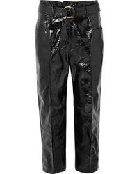 Petar Petrov - Hollis Belted Patent-leather Straight-leg Pants - Lyst