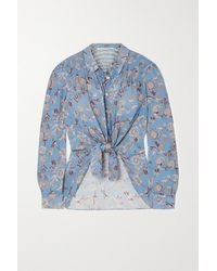 Veronica Beard Dazed Tie-front Floral-print Crepe De Chine Shirt - Blue