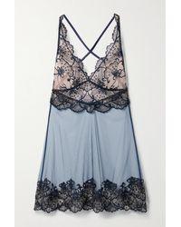 I.D Sarrieri Midnight Dream Nachthemd Aus Besticktem Tüll - Blau