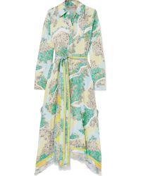 Emilio Pucci - Fringed Printed Silk-twill Midi Dress - Lyst