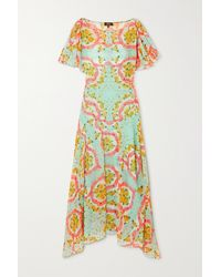 De La Vali Olivia Asymmetric Floral-print Chiffon Dress - Blue