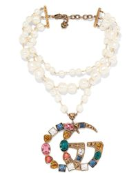 Gucci - Gold-plated, Faux-pearl And Crystal Necklace - Lyst