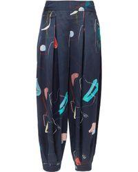 ROKSANDA - Pipa Printed Silk Tapered Trousers - Lyst
