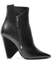 Saint Laurent - Niki 105 Zipped Leather Ankle Boots - Lyst