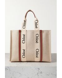 Chloé Woody Large Leather-trimmed Cotton-canvas Tote - White