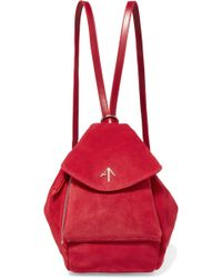 MANU Atelier | Fernweh Mini Leather-trimmed Suede Backpack | Lyst