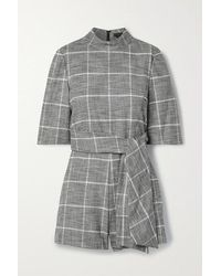 Alice + Olivia Belted Houndstooth Woven Playsuit - Black