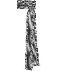 Magda Butrym - Ruffle-trimmed Striped Silk-jacquard Scarf - Lyst