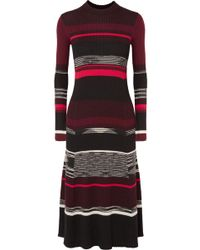 Proenza Schouler - Striped Ribbed Wool, Silk And Cashmere-blend Dress - Lyst