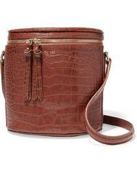 Tl-180 Mini Longue Croc-effect Leather Tote - Brown
