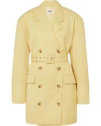 Frankie Shop Linda Belted Cady Blazer Dress - Yellow