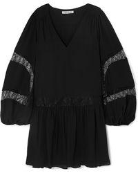 Elizabeth and James - Leslie Lace-trimmed Georgette Mini Dress - Lyst