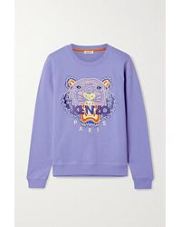 KENZO Embroidered Cotton-jersey Sweatshirt - Blue
