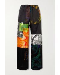 Dries Van Noten Puvis Printed Satin-twill Wide-leg Trousers - Black