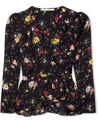 Veronica Beard Kiona Floral-print Silk-georgette Wrap Blouse - Black