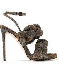 Marco De Vincenzo - Braided Textured-lamé Sandals - Lyst