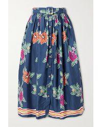 Miguelina Elani Belted Floral-print Cotton Midi Skirt - Blue