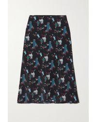 Cefinn - Aria Printed Silk Crepe De Chine Midi Skirt - Lyst