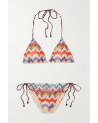 Missoni Mare Metallic Crochet-knit Triangle Halterneck Bikini - White