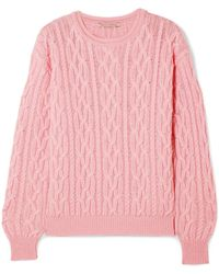 Emilia Wickstead - Olive Cable-knit Merino Wool Sweater - Lyst