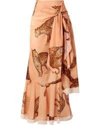 Johanna Ortiz Tropical Agitations Wrap-effect Ruffled Printed Cotton-voile Maxi Skirt - Multicolor