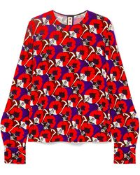 Marni - Floral-print Stretch-jersey Blouse - Lyst